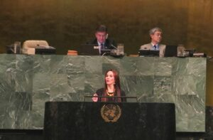 """IPU President, Gabriela Cuevas, in her address to the General Assembly, said that """"our task, as the world organization of national parliaments, is to help create common ground among parliamentarians so that their voices across parties and genders can be articulated into a strong parliamentary perspective on global affairs."""""""