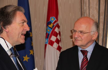 Speaker of the Coratian Sabor, Mr Josip Leko with Lord Dundee
