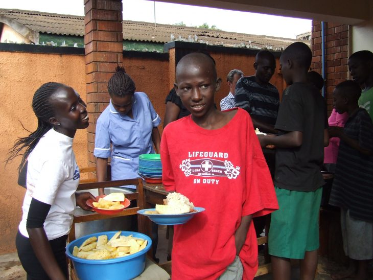 Street Children are given food once a week at Retrak Uganda