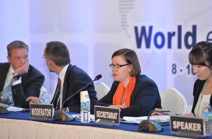 Meg Hillier MP moderates a session at the World e-Parliament Conference
