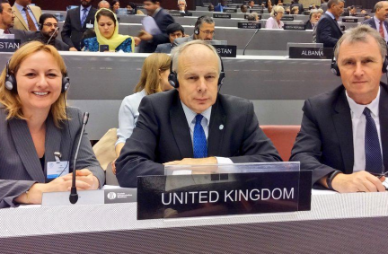 UK Governing Council Members, (R to L) BGIPU Chair, Nigel Evans MP, Ian Liddell-Grainger MP and Lisa Cameron MP
