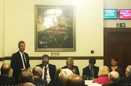 Re-elected Chair Nigel Evans MP addresses the AGM on key activites in 2017