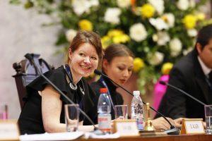 The UK Parliament's Director of Digital Development, Emma Allen, moderates a session on citizen engagement
