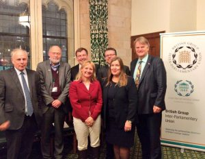 Members of the BGIPU Executive Committee welcome counterparts from Norway to the UK Parliament