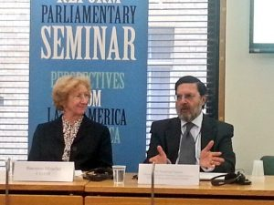 Baroness Meacher in closing session with UNODC's Dr Chawla