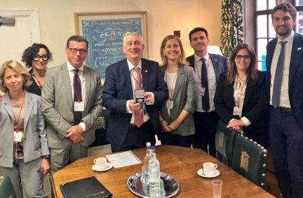 Members of the Italian Delegation meet Deputy Speaker and Chairman of Ways and Means, Rt Hon Sir Lindsay Hoyle MP