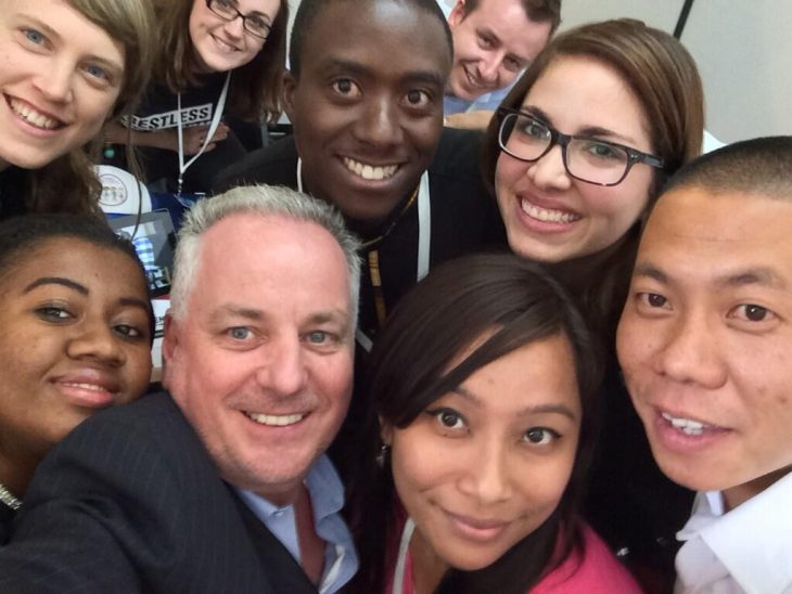 UK Peer, Lord McConnell, takes a selfie with youth activists during IPU event in Mexico