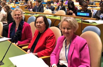 Baroness Hodgson, Baroness Gale and Baroness Watkins representing the UK Parliament at the 63rd session of the Commission of the Status of Women at the UN in New York