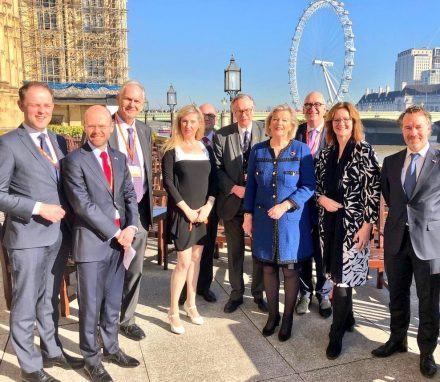 The visiting delegation led by the President of the Dutch Senate enjoyed a tour of the Palace of Westminster by Lord Craigavon.JPG