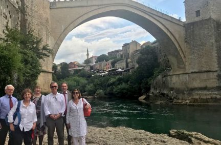 UK delegation visit the historic Mostar Bridge