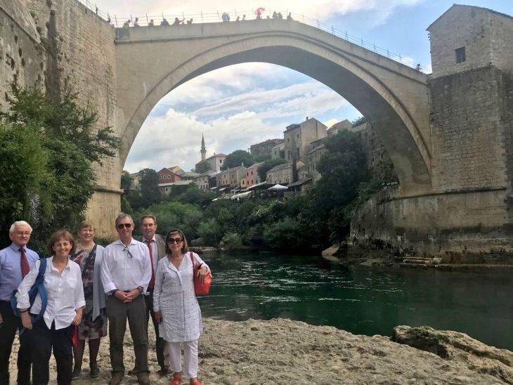 UK delegation visit the historic Mostar Bridge