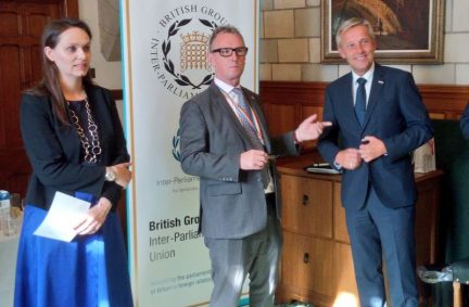 The BGIPU Chair Nigel Evans MP welcomes his counterpart Reinhold Lopatka to the Palace of Westminster