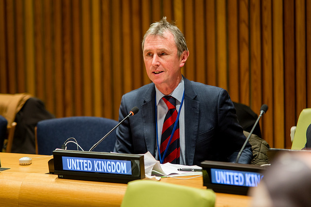 BGIPU Chair Nigel Evans speaking on the global drug problem at the UN Parliamentary Hearing in New York