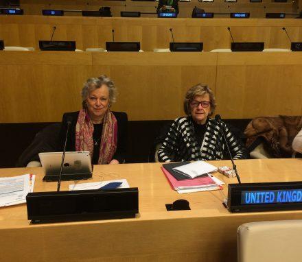 Baroness Hodgson and Baroness Armstrong representing BGIPU at CSW 61.jpg
