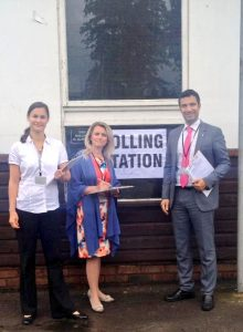 Finnish Parliamentarian Paivi Rasanen (L) with Swiss counterpart Andrea Caroni (R) and BGIPU's Anja Richter in Ealing