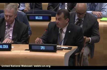 IPU President, Saber H. Chowdhury MP, at the UN during the adoption of the Global Goals