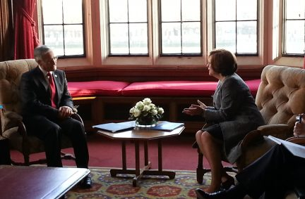 The President of the Kosovan Assembly meeting with Rt Hon Baroness D'Souza, Lord Speaker