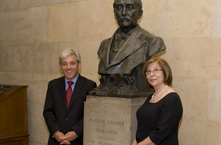 The Lord Speaker and Mr Speaker with the bust of Randal Cremer