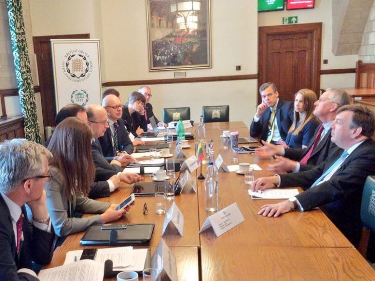 The Lithuania delegation meet the Chair of the Exiting the EU Committee, Hillary Benn MP, and BGIPU Vice-Chair John Whittingdale MP