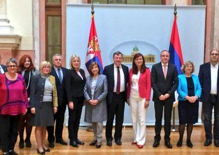 Delegation meet members of Serbia-UK Friendship group in the Serbian National Assembly.JPG