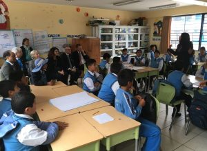 UK delegation met with school students during a visit to Santa Rosa Public School in Cusco.