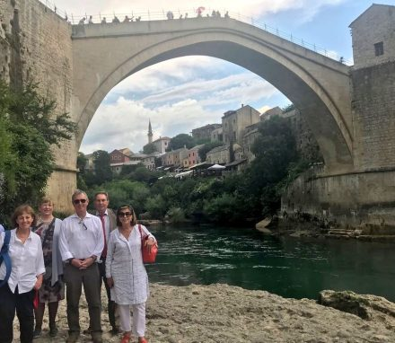 UK delegation visit the historic Mostar Bridge.JPG