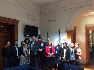 Members of the UK Delegation, including Diana Johnson MP, meet human rights defenders at UK Mission