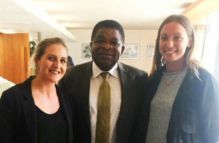 Rhiannon Edwards and Lauren Tait with IPU Secretary General, Martin Chungong during the Seminar