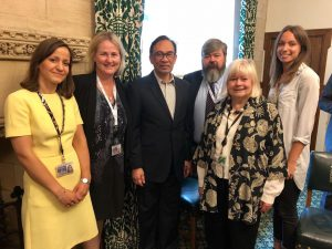 Vice-Chair Ann Clwyd MP and BGIPU Secretariat staff welcome Anwar Ibrahim to the UK Parliament following his pardon