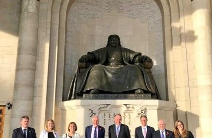 The UK delegation led by Lord Howard at Mongolia's parliament, the State Grand Hural