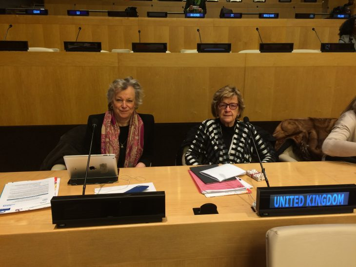 Baroness Hodgson and Baroness Armstrong representing BGIPU at CSW 61 at the UN in New York