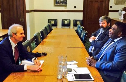 IPU Secretary General Martin Chongong in talks with FCO Minister, Rt Hon David Lidington MP