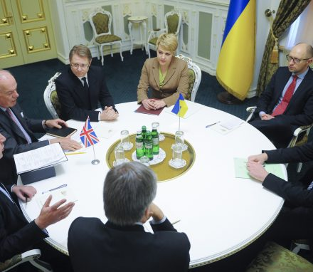 Discussing most pressing issues with Prime Minister Arseniy Yatsenyuk