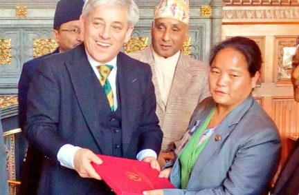 Rt Hon John Bercow MP, Speaker of the House of Commons with his counterpart from Nepal, Rt Hon Onsari Gharti Magar