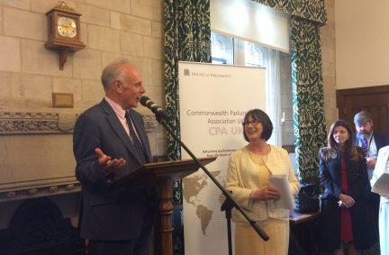 CPA UK Chair Ian Liddel-Grainger MP speaks alongside PPS for FCO Minister, Pauline Latham MP