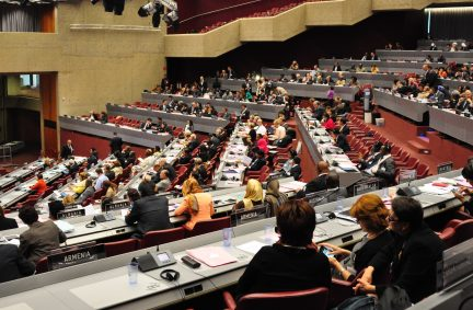Delegates attending the 130th IPU Assembly in Geneva