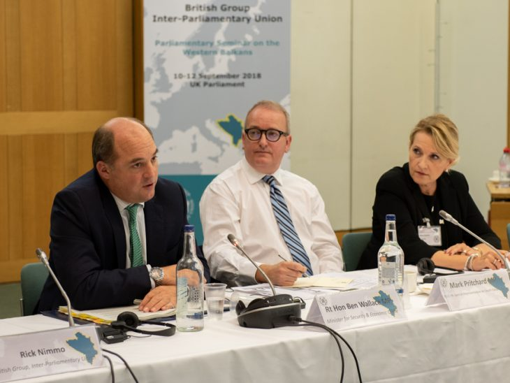 UK Minister for Security and Economic Crime, Rt Hon Ben Wallace MP, addresses the seminar on security threats chaired by Mark Pritchard MP