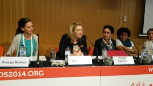 Pamela Nash MP participates in a panel session at the XX International AIDS Conference