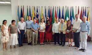 Delegation visiting the Latin American School of Medicine