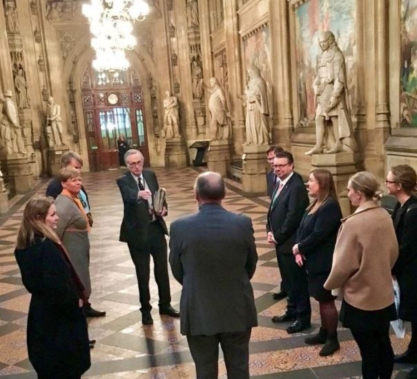 Lord Craigavon gives visiting delegation from Norway a tour of the Palace of Westminster