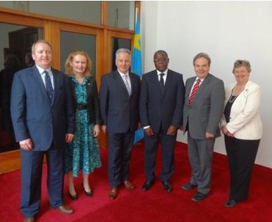 The APPG Great Lakes delegation with the President of the DRC's National Assembly, H.E. Aubin Minaku and the British Ambassador to the DRC, H. E. Diane Corner, at the DR Congo's National Assembly.