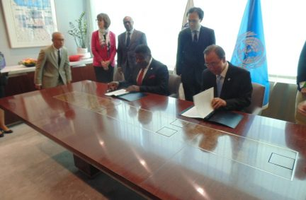 The new cooperation agreement between the IPU and the UN is signed by the Secretary General of both organisations on 21 July 2016 in New York