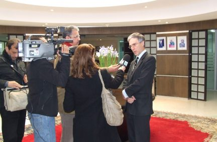 Dr Andrew Murrison MP with local press