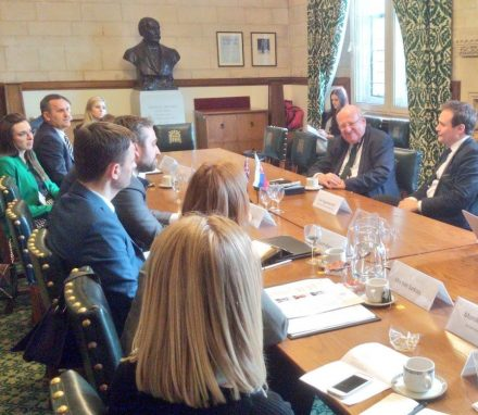 Visiting Parliamentary Delegation from Slovakia meet with the Chair of the Foreign Affairs Committee, Tom Tugendhat MP and member, Mike Gapes MP.JPG