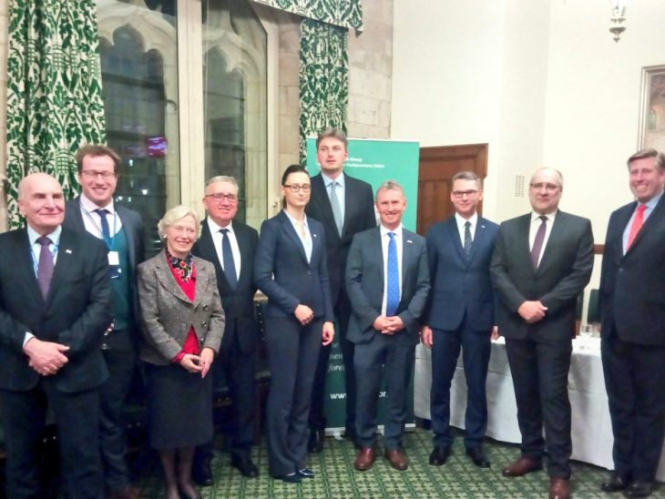 UK Members, including BGIPU Chair, Nigel Evans MP, welcome counterparts from Poland at a reception in the IPU Room