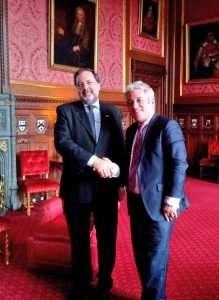 Speaker Gandini with UK Speaker Rt Hon John Bercow MP