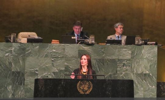 The IPU President speaks at UNGA on 22 May 2018 on the adoption of the resolution on the UN's interaction with national parliaments and the IPU