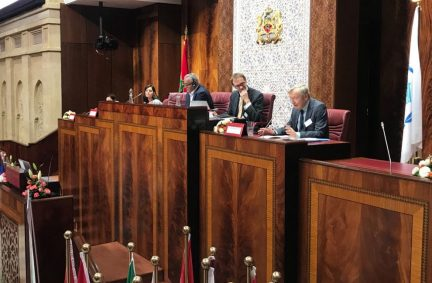 Lord Dubs chairs a session at the IPU Parliamentary Conference on Migration in Rabat