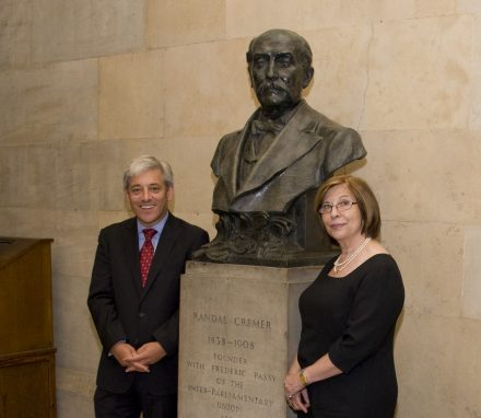 UK Speakers Rt Hon John Bercow MP and Rt Hon Baroness D'Souza pay tribute to IPU founder in 2013