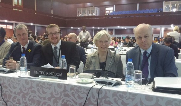 Nigel Evans MP, Andrew Gwynne MP, Baroness Hooper and Ian Liddell-Grainger MP representing UK at the 134th Assembly in Lusaka